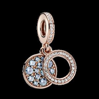 Charm Pandora 789186c03 Rose Doble Disco Azul e Zircônia