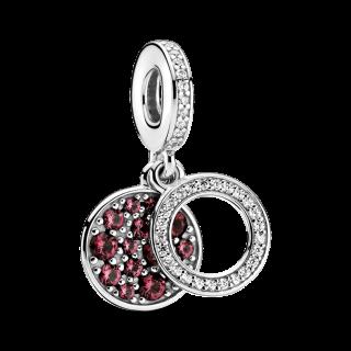 Charm Pandora 799186c03 Prata Doble Disco Vermelho e Zircônia