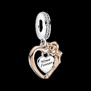 Charm Pandora 789290c01 Prata e Rose Coração e Flor