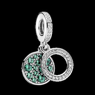 Charm Pandora 799186c02 em prata Doble Disco Verde e Zircônia