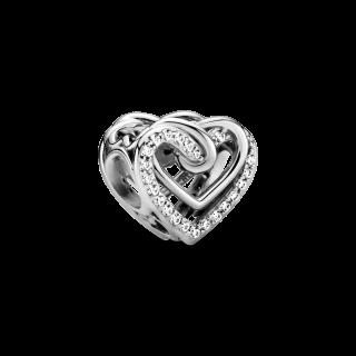 Charm Pandora 799270c01 em prata corações Entrelazados