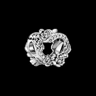 Charm Pandora 799281c01 em prata Corazon Abierto e Flores