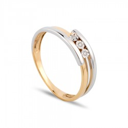 Anillo de oro bicolor 18k con diamante Oro Vivo