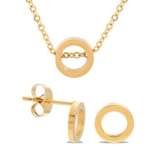 Conjunto de collar y pendientes de acero chapado 38 + 3 cm