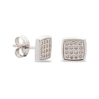 Pendientes de oro en forma cuadrada con diamante de 0,096 KT