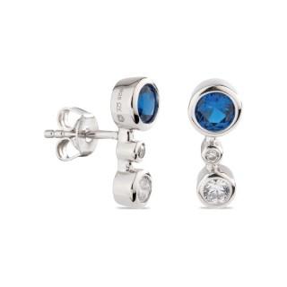 Pendientes de plata chatones circonita azul y blanca