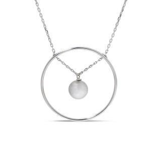 Collar de plata círculo con bolita bubble colección Indiana