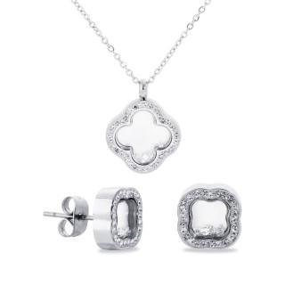 Conjunto de collar y pendientes en forma de trébol de nácar