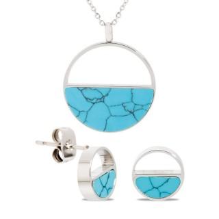 Conjunto de collar y pendientes semicírrculo con mármol azul