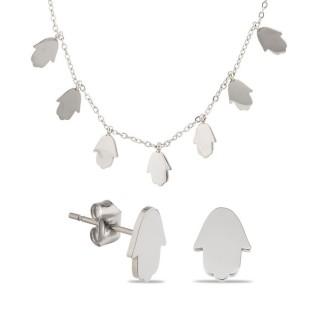 Conjunto de collar y pendientes de acero mano de Fátima