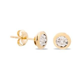 Brincos chatón de ouro 9 KT com diamante