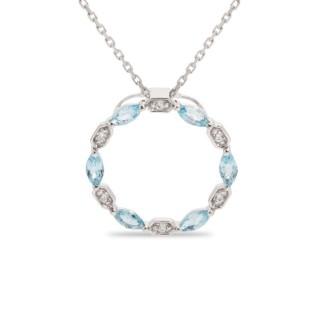 Collar de oro blanco, circonita y topacio azul 42 + 3 cm