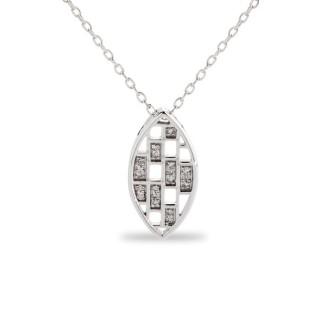 Collar de oro blanco panel con detalle de diamante