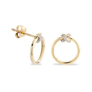 Brincos de ouro bicolor de círculo com detalhe de diamante