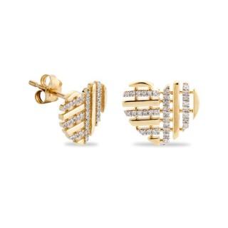 Pendientes de oro bicolor en forma de corazón con diamante
