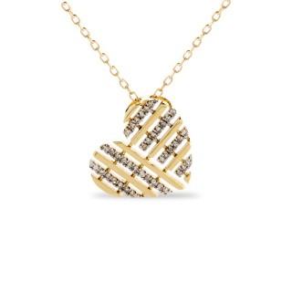 Collar de oro bicolor en forma de corazón con diamante