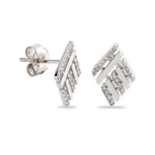 Pendientes de oro blanco en forma de cuadrado con diamante