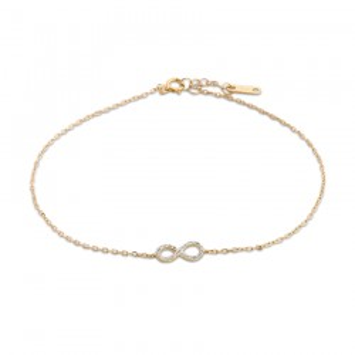 Pulseira de ouro bicolor em forma de infinito e diamante