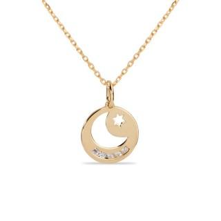 Collar de oro y circonita en forma de luna y estrella