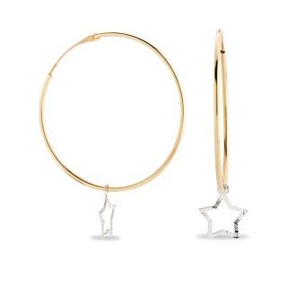 Pendientes de oro bicolor tipo aro con estrella colgante