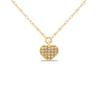 Collar de oro amarillo en forma de corazón con 19 diamantes