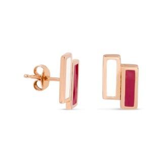 Brincos banhados em ouro com barras crema e vermelha