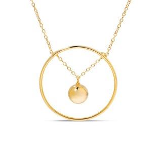 Collar bañado en oro círculo bolita bubble Oro Vivo