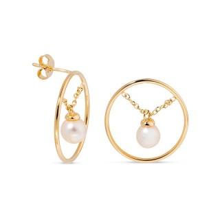 Pendientes bañados en oro y colgante perlas Oro Vivo