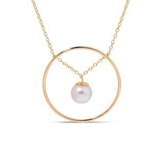Collar bañado en oro con colgante de perla Oro Vivo