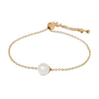 Pulsera bañada en oro con charm de perla bubble Oro Vivo
