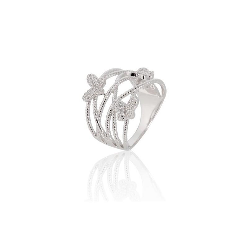Anel em prata com zircônia e borboletas Oro Vivo