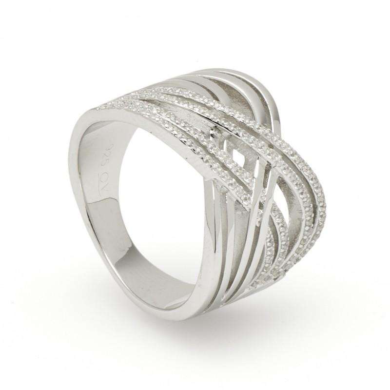 Anel em prata entrelaçado Oro Vivo