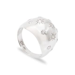 Anel em prata com estrela e zircônia Oro Vivo