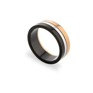 Anillo de acero giratorio negro Oro Vivo