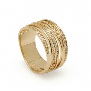 Anel banhado em ouro com zircônia larga Oro Vivo