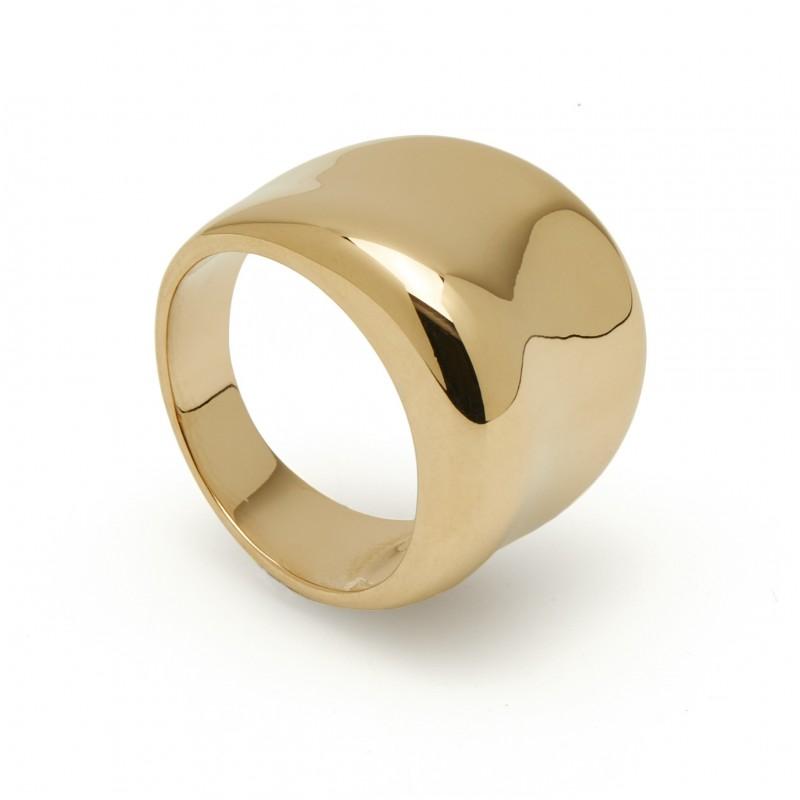 Anel largo banhado em ouro com zircônia Oro Vivo