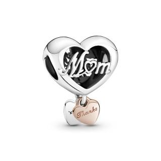 Charm De Plata Pandora Corazón Gracias Mamá