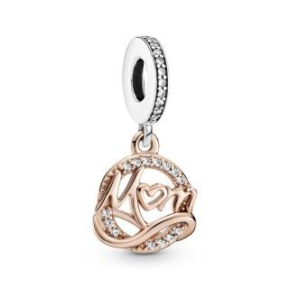Charm De Plata Pandora Con Colgante Rosé Mamá