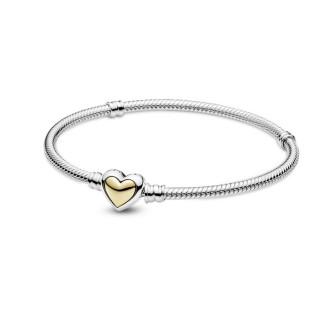 Pulsera de plata Pandora 599380C00-17 de corazón dorado T-17