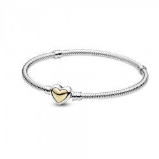 Pulsera de plata Pandora 599380C00-19 de corazón dorado T-19