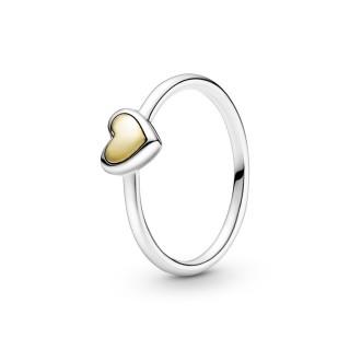 Anillo de plata Pandora 199396C00-58 con corazón dorado 18