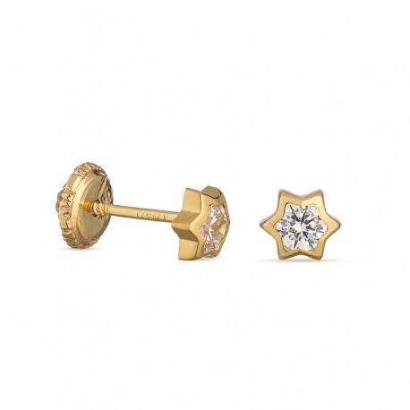 Pendientes de oro amarillo 18K estrella de 3mm Oro Vivo