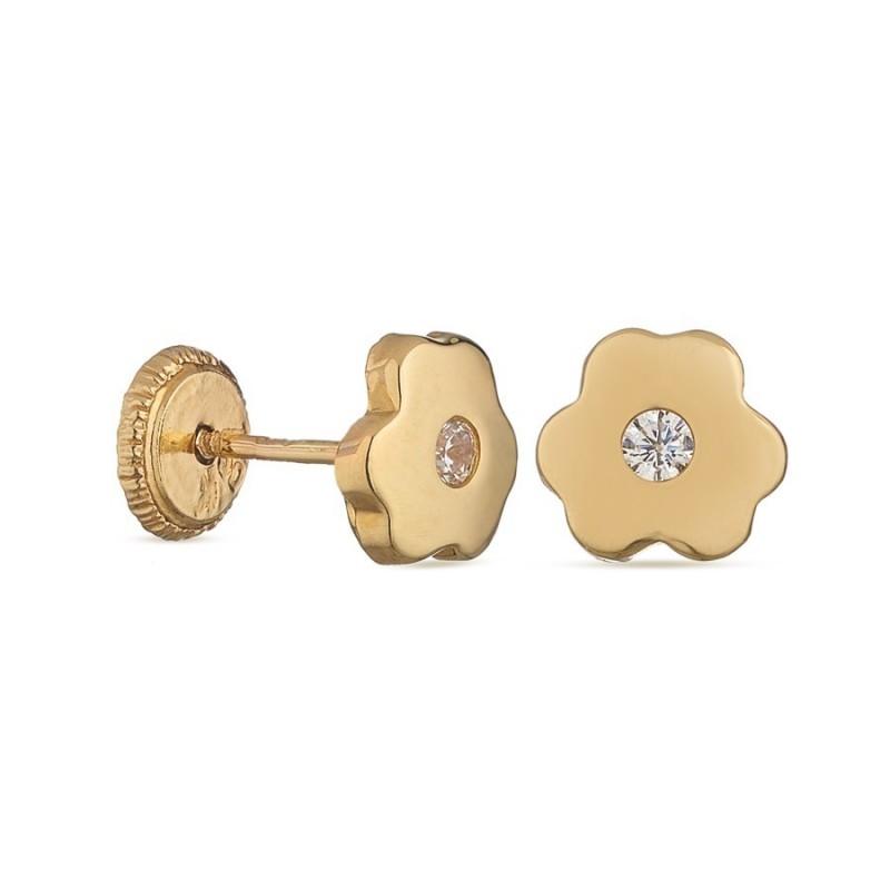 Pendientes de oro amarillo 18K de flor para bebé Oro Vivo