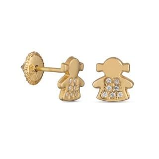 Pendientes de oro amarillo con niña Oro Vivo
