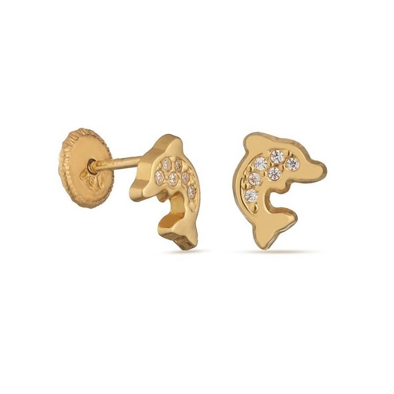 Pendientes de oro amarillo con delfín y circonita Oro Vivo
