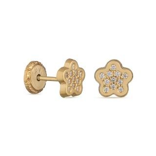 Pendientes de oro amarillo con flor y circonita Oro Vivo