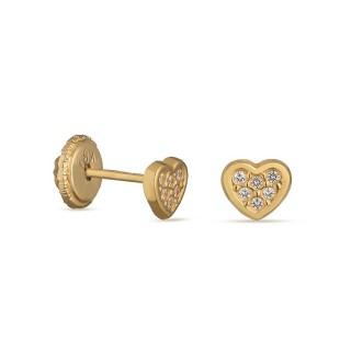 Pendientes de oro amarillo con corazón y circonita Oro Vivo