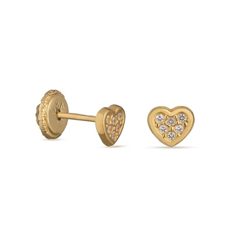 Pendientes de oro amarillo 18K corazón y circonita Oro Vivo
