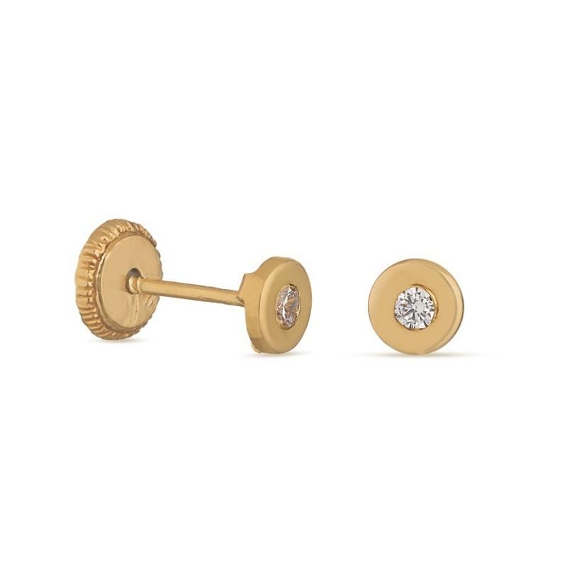 Brincos em ouro amarelo 18K com chatón de 1 mm Oro Vivo