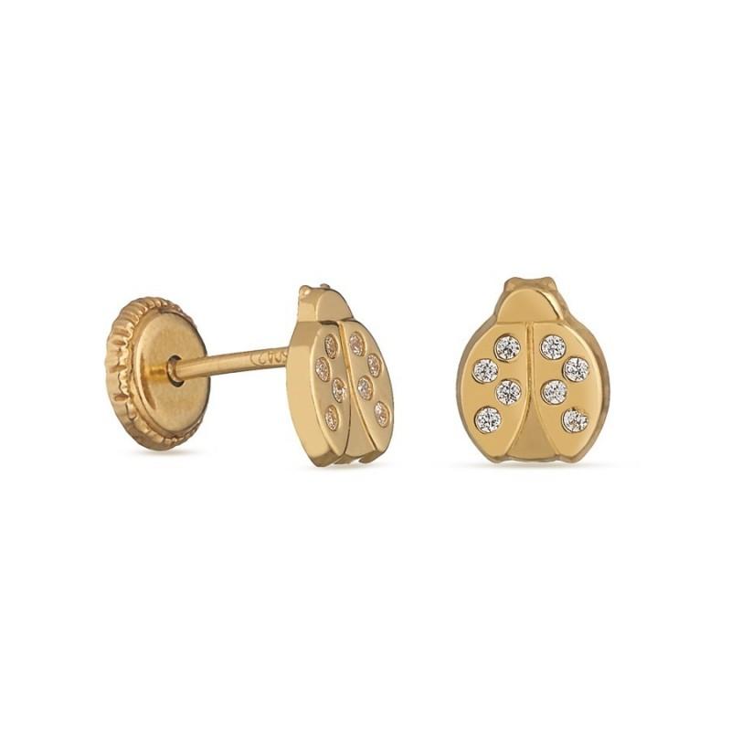 Pendientes de oro amarillo 18 mariquita y circonita Oro Vivo